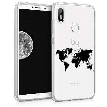 kwmobile Funda para bq Aquaris C - Carcasa de TPU para móvil y diseño de Mapa del Mundo en Negro/Transparente