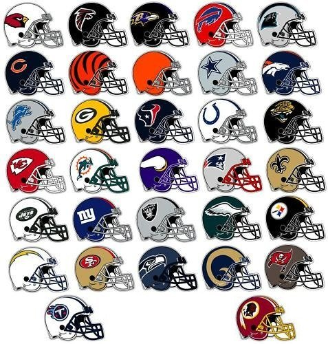 NFL Decal Stickers Set of 50 Football Helmet Shaped Stickers (Full set of 32 and more) ()