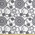 Lunarable Grey Fabric by The Yard, Swirling Circles in Movement Retro Style Simple Modern Patterns Graphic Print Home, Decorative Fabric for Upholstery and Home Accents, 3 Yards, Gray White