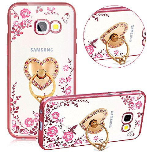 Funda Case Samsung Galaxy Grand Prime G530 silicona,Ukayfe Carcasa Espejo Samsung Galaxy Grand Prime G530 Mirror Case,Ultra fina de Tpu funda de silicona espejo brillante Cover Case, brillantes crista Liebe Herz Ständer,Rose Gold Rosa Blumen