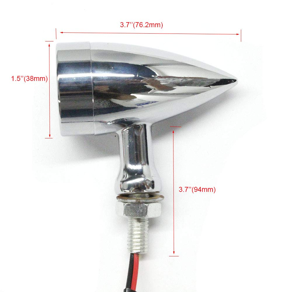 2pcs Amber CNC Motorcycle Bullet LED Turn Signal Light Blinker Indicator Front Rear Tail Light for Harley Honda Ymaha Suzuki Kawasaki