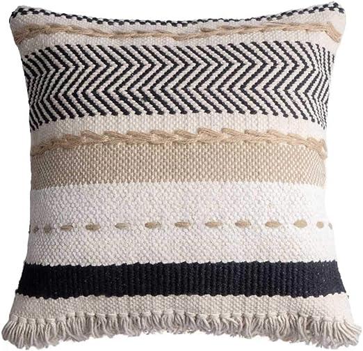 Black Velvet Studio Funda cojín Dakar, 80% algodón y 20% Yute, Color Blanco y Negro y Beige, Tejida a Mano, étnica,45x45 cm.: Amazon.es: Hogar