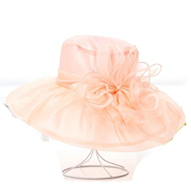 Image Unavailable. Image not available for. Color  Elegant Wide Brim Sun Hat  for Women Summer Beach Hat with Flower Decoration Ladies ... b52c9c4fd65a