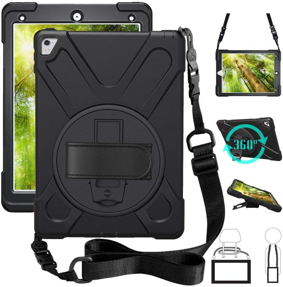 ZenRich iPad Pro 9.7 Case 2016, 360 Rotating Kickstand Hand Strap & Shoulder Belt zenrich Shockproof Heavy Duty Rugged Case for iPad Pro 9.7 inch 2016 Release A1673/A1675 Black