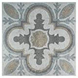"tile floor patterns SomerTile FEM13LDM Lema Ceramic Floor and Wall Tile, 13.125"" x 13.125"", Grey/Brown/Blue"