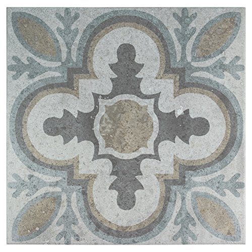 "SomerTile FEM13LDM Lema Ceramic Floor and Wall Tile, 13.125"" x 13.125"", Grey/Brown/Blue"