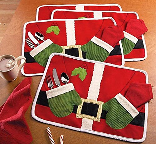 - Hever 4 PCS Set Dish Bowl Food Placemat Mat Christmas Party Decoration Santa Claus