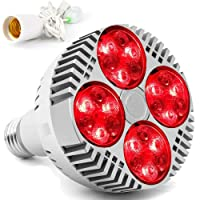 Red Light Therapy Lamp with Socket,48W 24 LED Deep Red Light Therapy Bulb Heat Device...