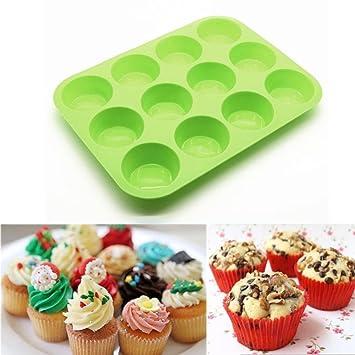 hunpta 12 Copa Silicona Muffin Cupcake Molde para Hornear Antiadherente Apta para lavavajillas se Puede Usar en microondas: Amazon.es: Hogar