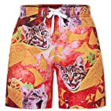 Idgreatim Junior Boys Beach Boardshorts Funny Taco Cats Pattern Hawaiian Holiday Bathing Suit Comfy Quick Dry Mesh Swim Trunks for Boys Size 12