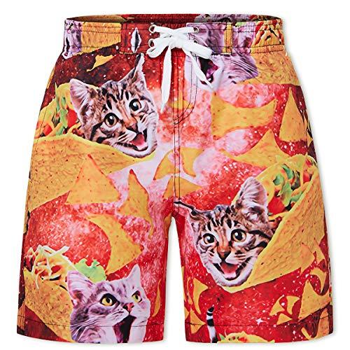 (Idgreatim Swim Trunks for Boys Size 14 Summer 3D Graphic Quick Dry Beachwear Shorts Cute Waterproof Mesh Swimwear Bathing Suits with Pockets 14-16)