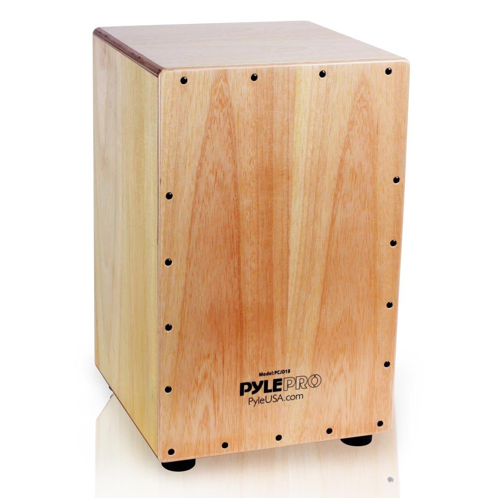 Pyle String Cajon - Wooden Percussion Box, with Internal Guitar Strings, Full Size by Pyle
