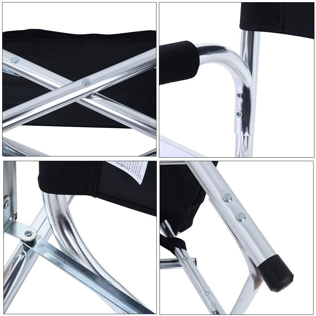 Homefami Camping Chair Foldable Director Chair Lightweight Aluminum Frame Makeup Artist Chair with Armrest Side Table