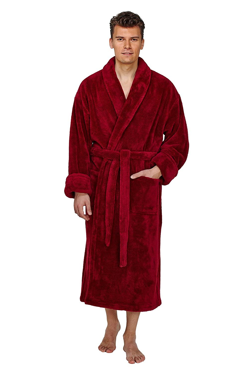 Arus Men's Shawl Collar Full Ankle Length Fleece Robe