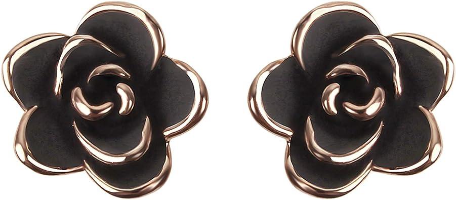 Damen Blumen Ohrstecker Schwarz Ohrringe mit Vergoldet Messing Durchmesser: 9 mm