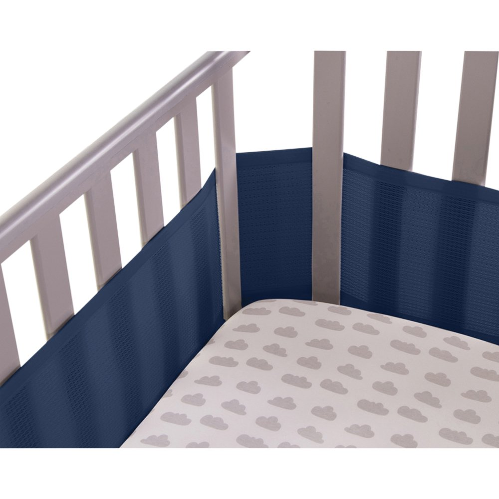 Safe Dreams 4 Sided Hypoallergenic Breathable Cot Bumper - With Safebreathe Technology - Grey babybundle CW4SG