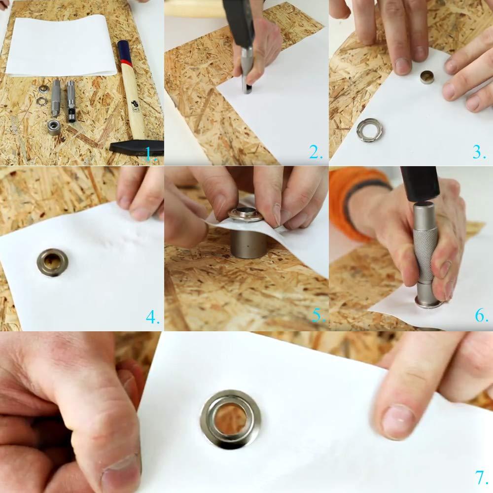 12mm Ojales Metalicos HO2NLE 100Pcs Kit/Ojetes/Metalicos Plata Remachadora Ojales Kit de herramientas de ojetes con Cortador de Agujeros para Toldos Lona Ropa Manualidades Cortinas Scrapbooking