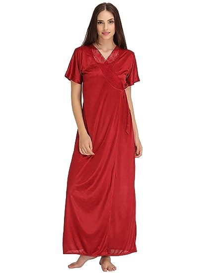 f98d3b5af9 Clovia Women s Satin Nighty   Robe Set (NSM389G09 Red Free Size ...