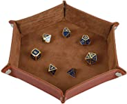 STYLIFING Dice Tray Metal Dice Rolling Tray Holder Storage Box for RPG DND Table Games, Double Sided Folding Thick PU Leathe
