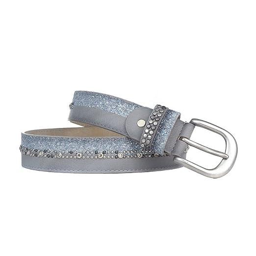 Damen Gürtel Hüftgürtel mit glitzernden Strass Kristall Nieten aus echtem Leder