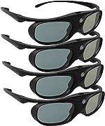 DLP Link 3D Glasses, ELEPHAS 144Hz Rechargeable Active Shutter Eyewear for