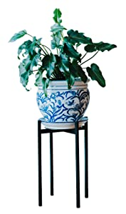 Plant Stand for Indoor & Outdoor Pots - Black, Metal Potted Plant Holder for House, Garden & Patio - Sturdy, Galvanized Steel Pot Stand - Stylish Mid-Century Patented Design - Tall, By Thorne & Co.