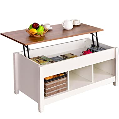Lift Top Coffee Table Hidden Compartment and Storage Shelves Modern Furniture writing or drinking.