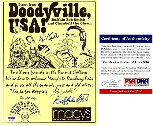 Buffalo Bob Smith and Clarabell the Clown Signed - Autographed Howdy Doody 8x10 inch Macy's Advertisement - Certificate of Authenticity (COA) - Deceased 1998 - PSA/DNA - Macy's Tampa