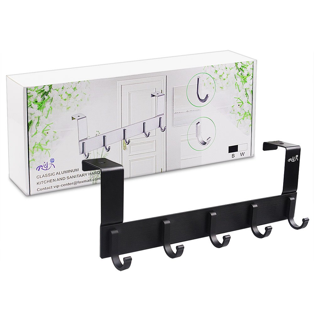 Over The Door Hooks,Rongyuxuan Pack 2 Heavy Duty Over The Door 5 Hooks Organizer Rack,Decorative Organizer Hooks for Clothes Coat Hat Belt Towels,Home or Office Use by Rongyuxuan (Image #8)