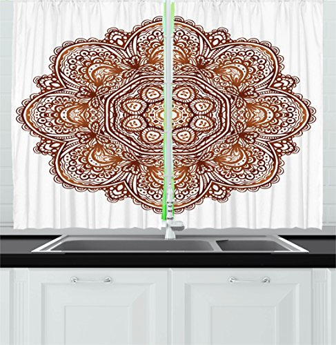 Ambesonne Mandala Decor Kitchen Curtains, Native American Sacred Labyrinth with Ethnic Occult Interlace Curl Habitat Pattern, Window Drapes 2 Panels Set for Kitchen Cafe, 55W X 39L Inches, Brown - Interlace Panel