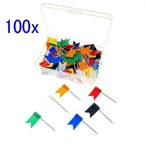 d6dd1db16b JZK 100 Bandierine puntine bacheca colorate con scatola puntine per sughero  puntine da disegno spilli bacheca