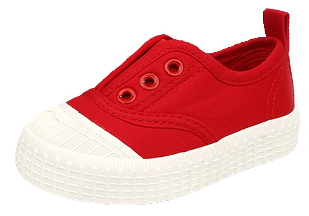 iDuoDuo Classic Kids Casual Solid Elastic Slip On Low Top Canvas Sneakers Red 7 M US Toddler