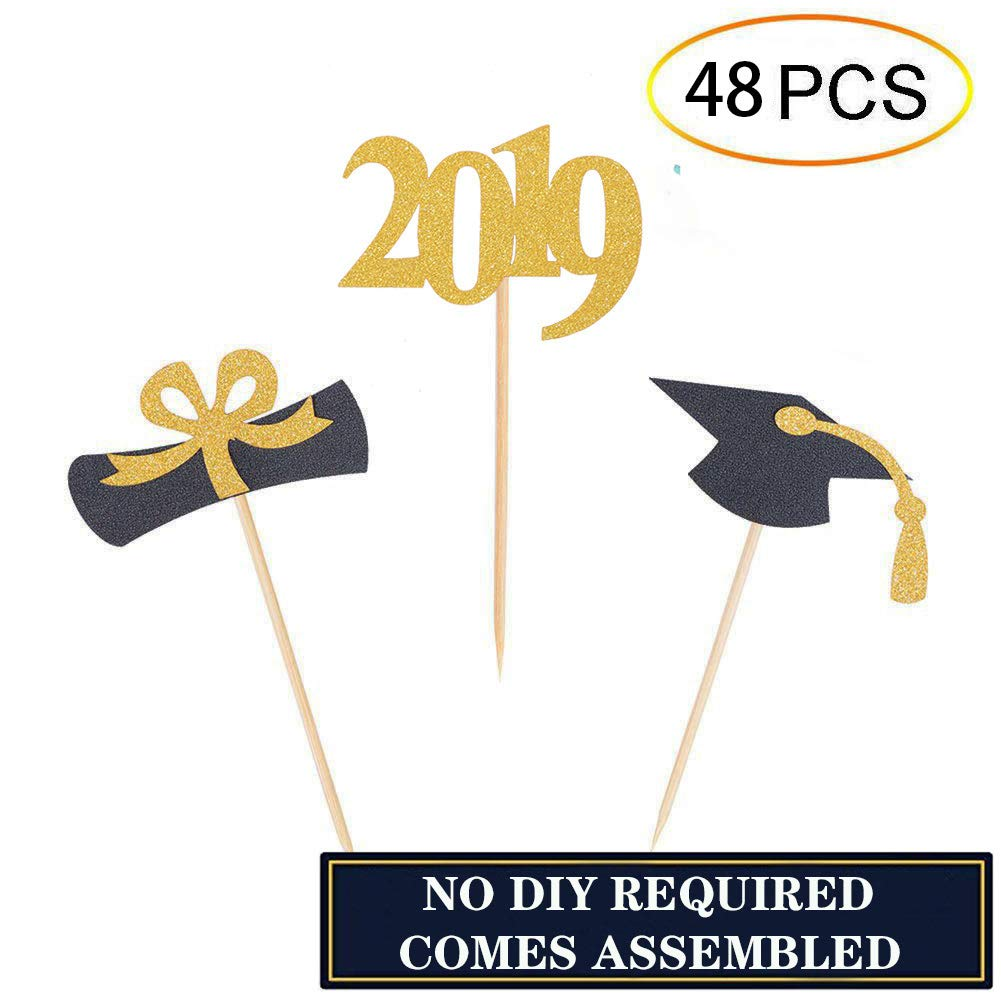 Qibote Graduation Cupcake Toppers 2019 Graduation Party Cake Decorations Cupcake Topper Picks Class of 2019 Graduation Party Supplies (48 PCS)