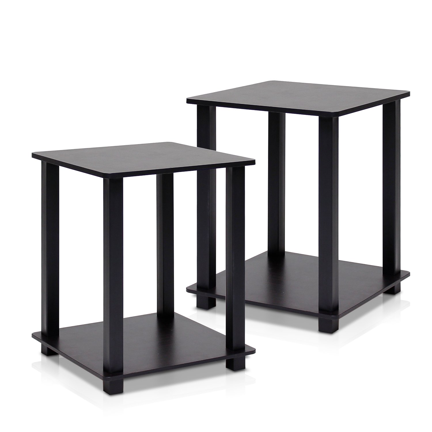 Furinno 12127EX/BK Simplistic End Table, Espresso/Black, Set of 2 by Furinno