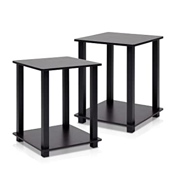 Superior Furinno 12127EX/BK Simplistic End Table, Espresso/Black, Set Of 2