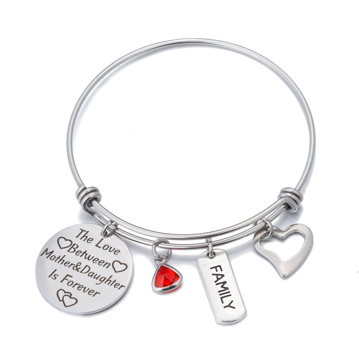 FCHEN Happy Birthday Gifts Bangle Expandable Charms Bracelets for Mom The Love Between Mother and Daughter