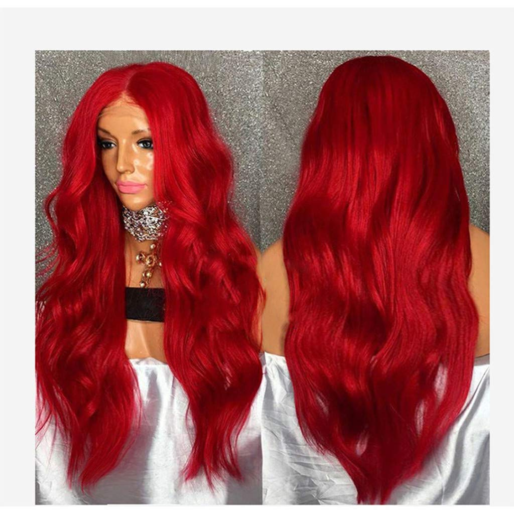 NOGOQU Cosplay & Party Charming Red Long Wavy Wigs Middle Parting by NOGOQU (Image #3)