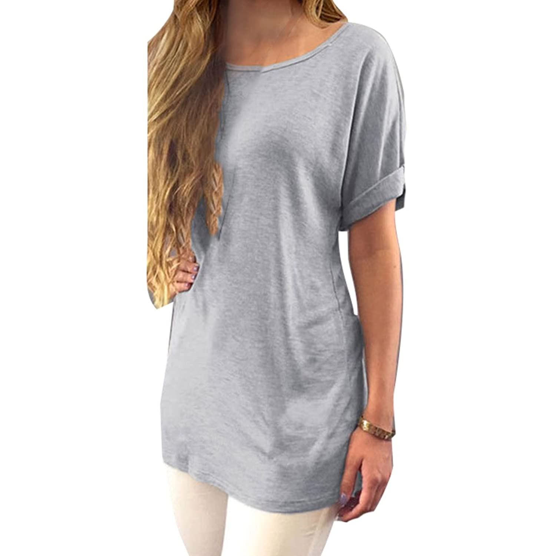 Juleya Mujer Camiseta Manga Corta Túnica Slim Fit Camisa Back Split Lacing  Top Blusas Largas con