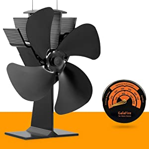 GALAFIRE [2 Years Warranty] Eco Heat Powered Wood Stove Fan for Gas Fireplace, Pellet Stove, Log Burner, fire Place + Stove Thermometer Magnetic N430