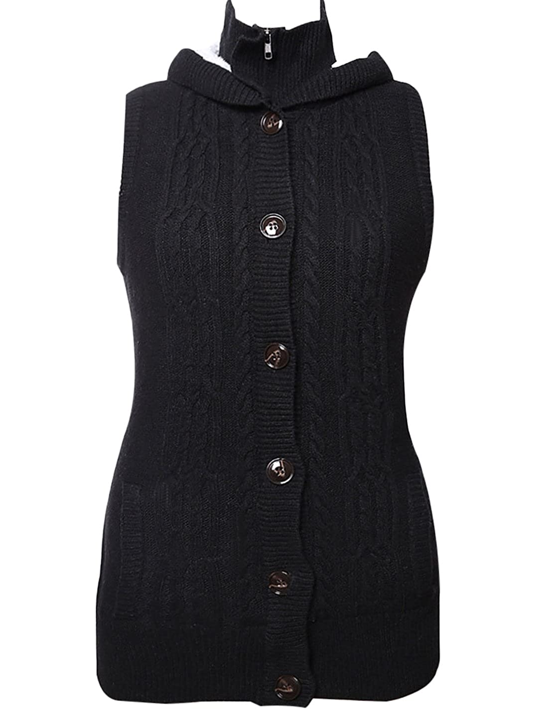 Jenkoon Women Button up Sleeveless Thick Sweater Cable Knit Hoodie Vest Cardigans