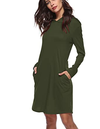 e2a8b4ab61c1 Women's Jersey Pullover Hoodie Dress Long Sleeve Hooded Sweatshirt Dress (6  Army Green ...