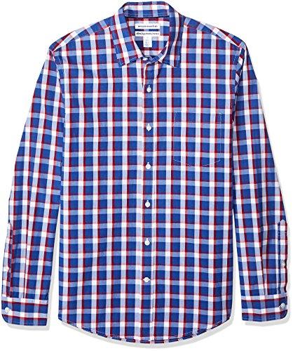 Amazon Essentials Men's Slim-Fit Long-Sleeve Casual Poplin Shirt, Blue/Red Plaid, Medium