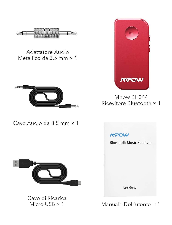 Mpow Bluetooth V5.0 Empf/änger Drahtlos Bluetooth Receiver Tragbare Bluetooth Adapter Audioger/äte f/ür KFZ Auto Lautsprechersystem mit Stereo 3.5 mm Aux Input