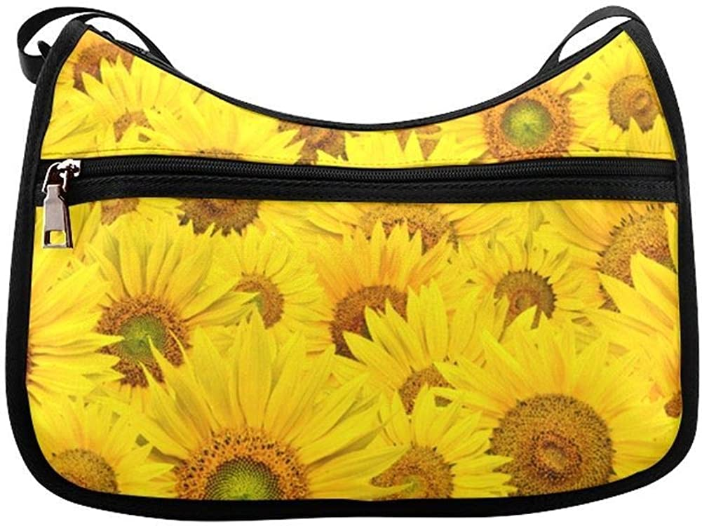 Drawings Of Sunflowers And Butterflies Messenger Bag Crossbody Bag Large Durable Shoulder School Or Business Bag Oxford Fabric For Mens Womens
