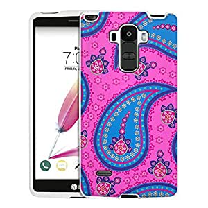 LG G Stylo Case, Snap On Cover by Trek Fun Paisley Blue Pink on Pink Case
