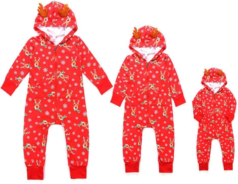 WTDlove Impresión de Pack familiar de Navidad año nuevo vestido con capucha familia de pijamas de elk casa desgaste de dibujos animados Vestido: Amazon.es: Hogar