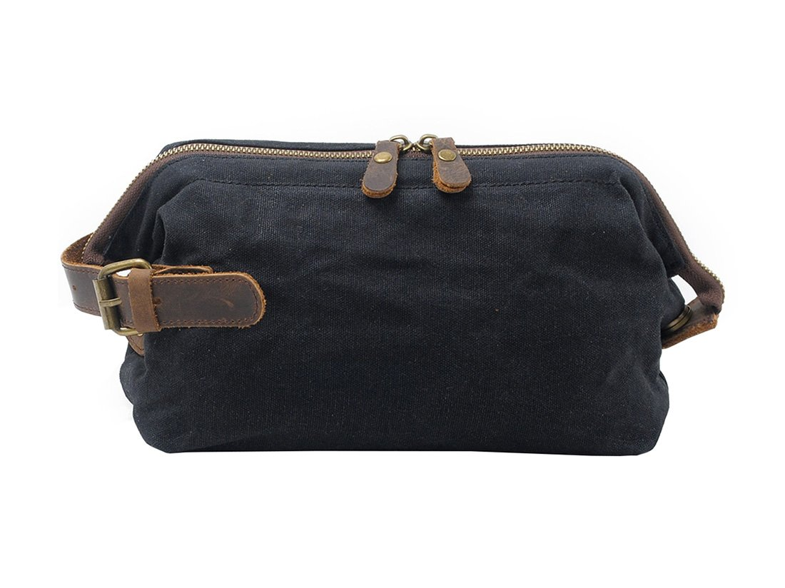 VRIKOO Travel Toiletry Bag Waterproof Waxed Canvas Makeup Shaving Dopp Kit