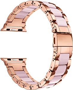 Mobile Advance Resin & Stainless Steel Band Bracelet for Apple Watch Series 6/SE/5/4/3/2/1 (Pink, 38mm/40mm)