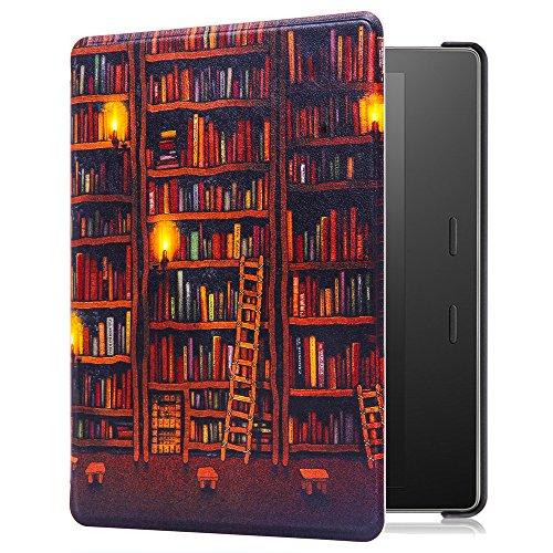 Huasiru Painting Case for Amazon Kindle Oasis 2017 Cover with Auto Sleep/Wake, Library