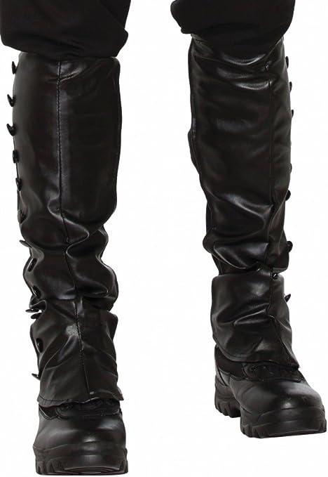Schwarze Steampunk Gamaschen in Leder Optik Stiefelstulpen mit Gummi